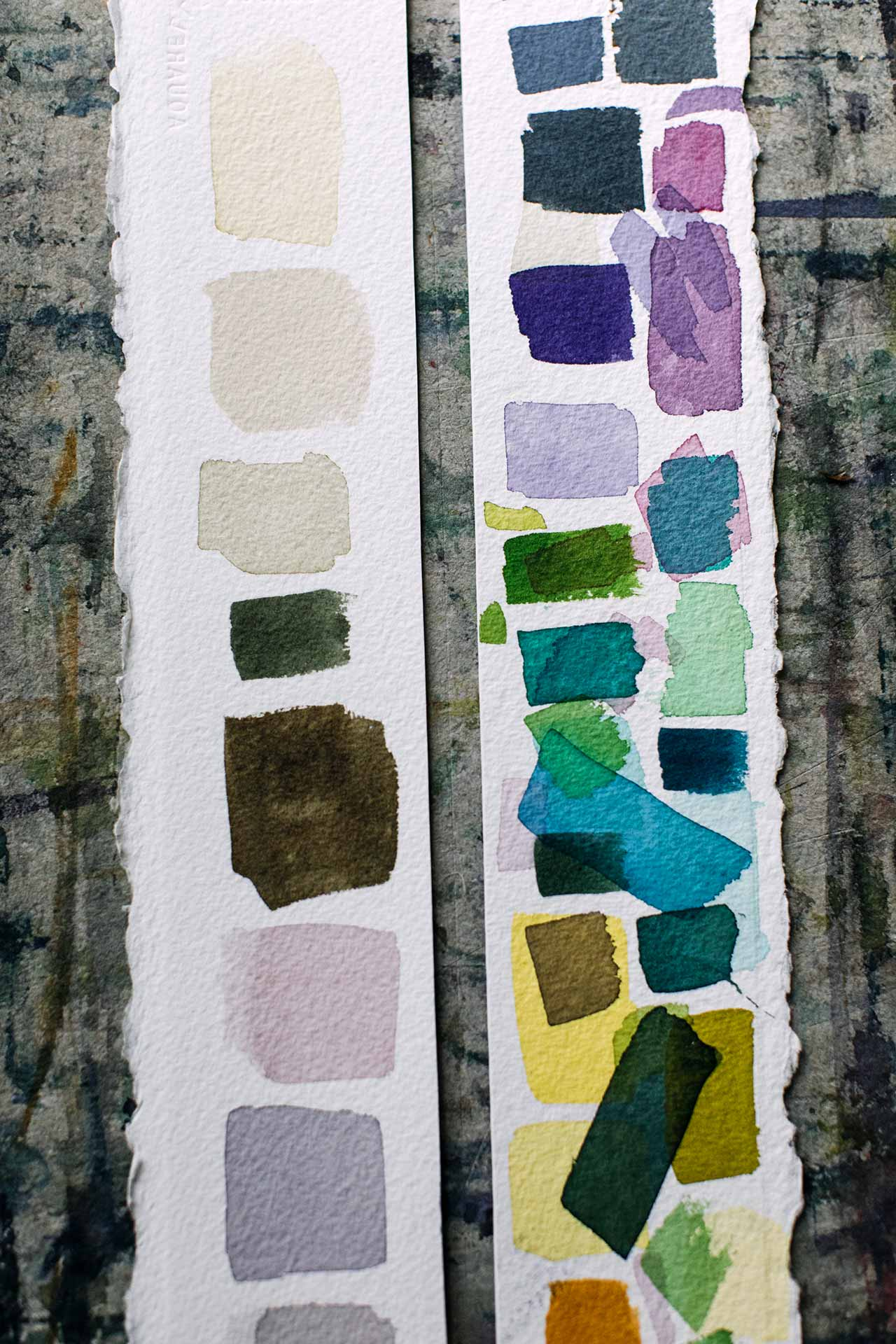 Experimental colour swatches