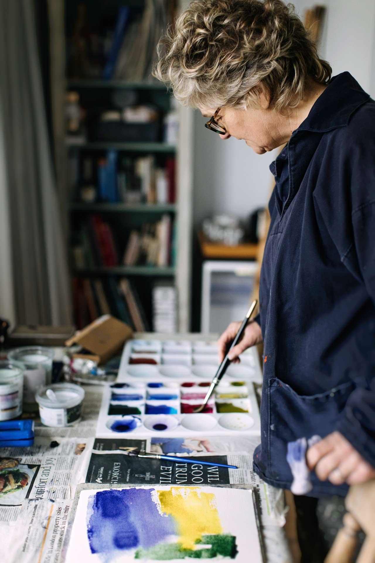 Marnie Watson at work in her Oxfordshire studio