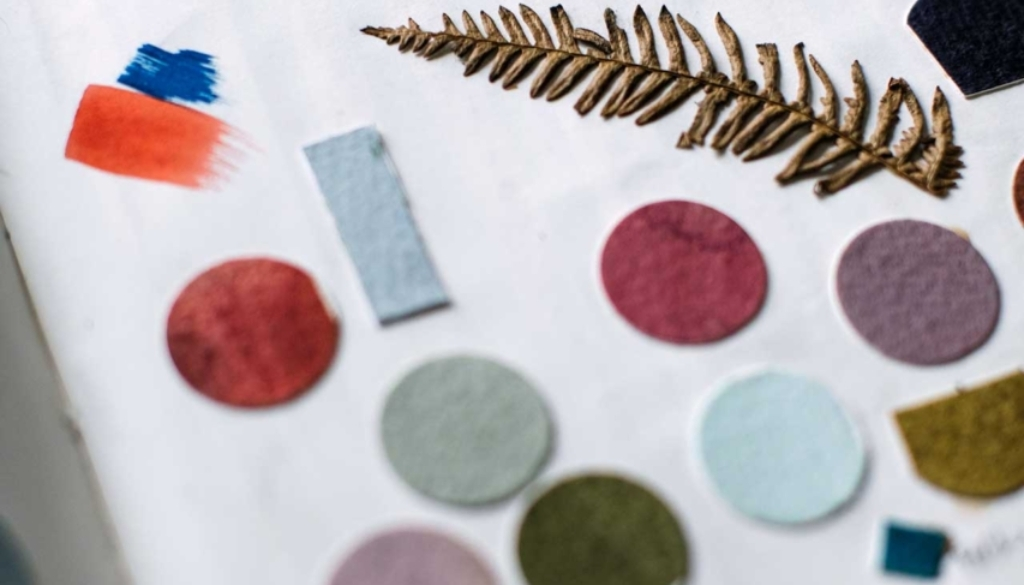 A page from one of Marnie's home-made swatch books